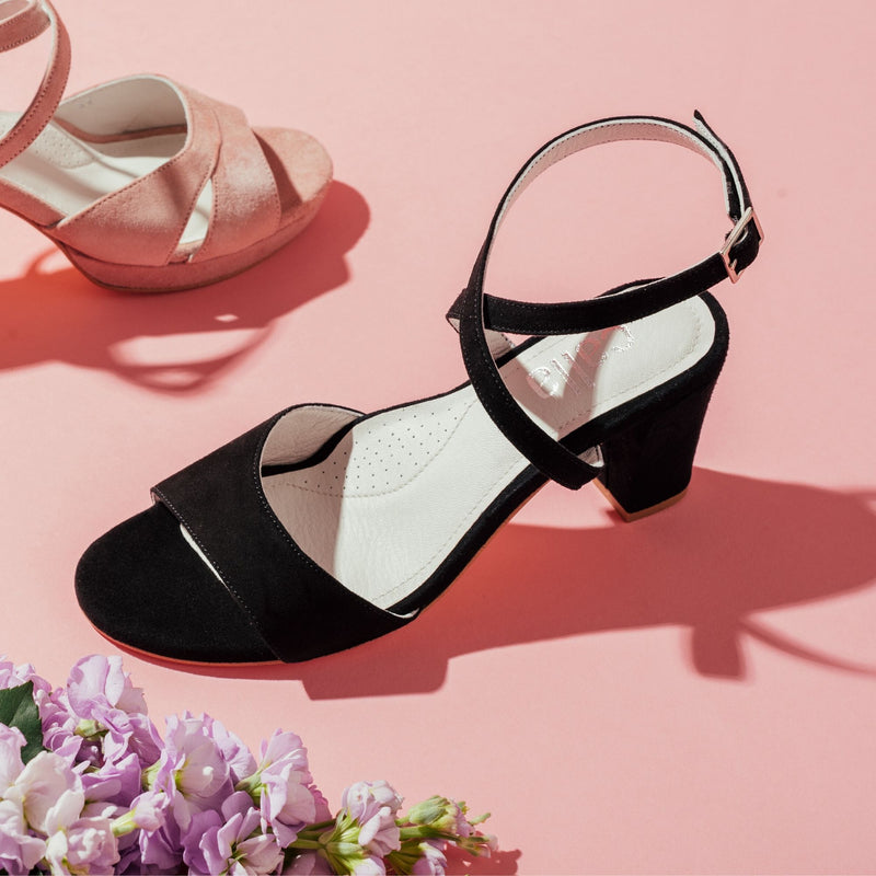 black heel sandal side view