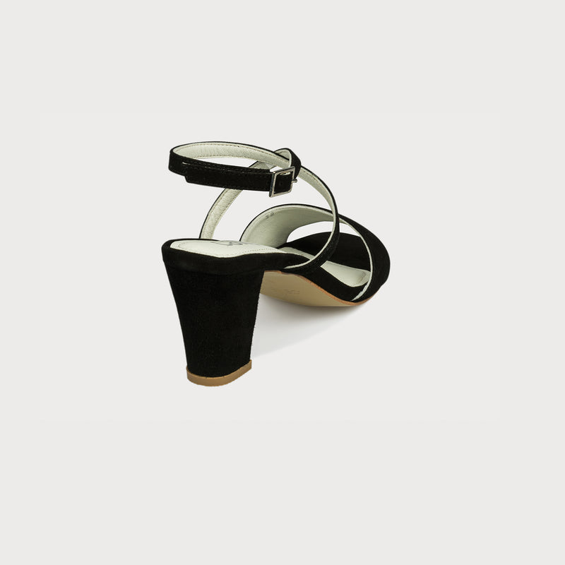 block heel black sandal back