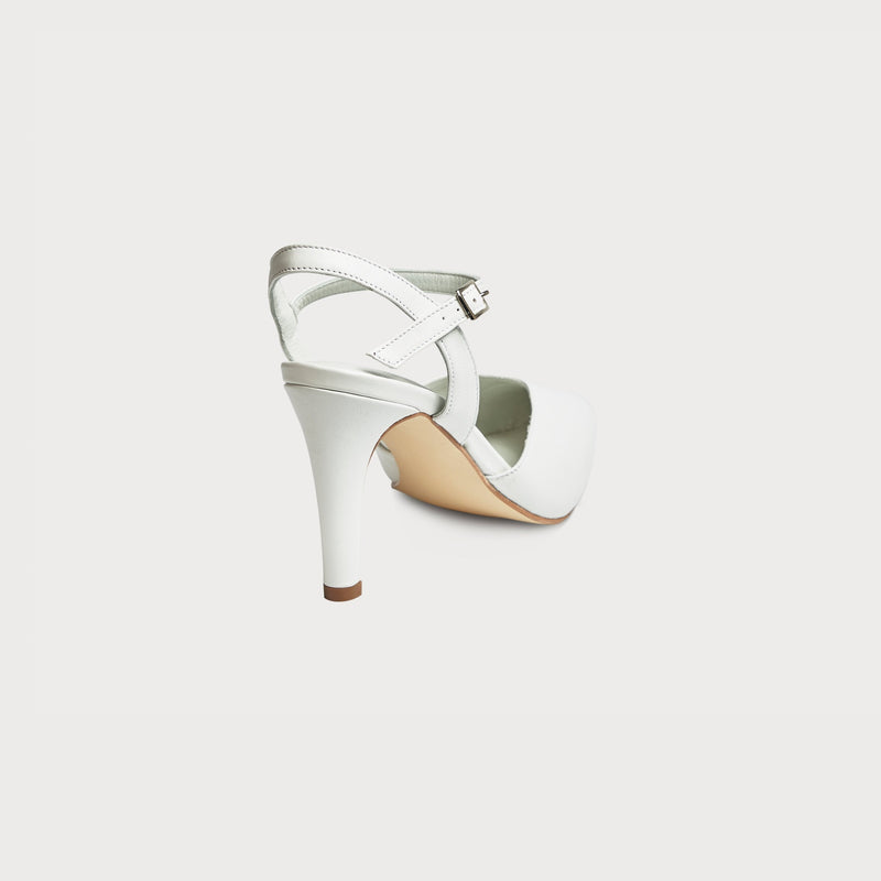 bunions heels white leather court shoe stylish comfortable