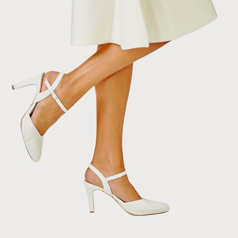 white leather strap court shoe heel bunions wide feet comfortable