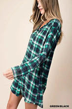 Load image into Gallery viewer, WASHED PLAID TUNIC DRESS