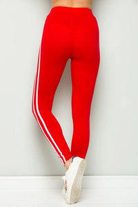 RED SIDE STRIPE LEGGING