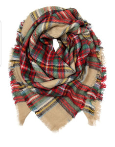 PLAID FRINGE BLANKET SCARF