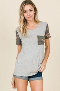 CAMO CONTRAST KNIT TUNIC TOP