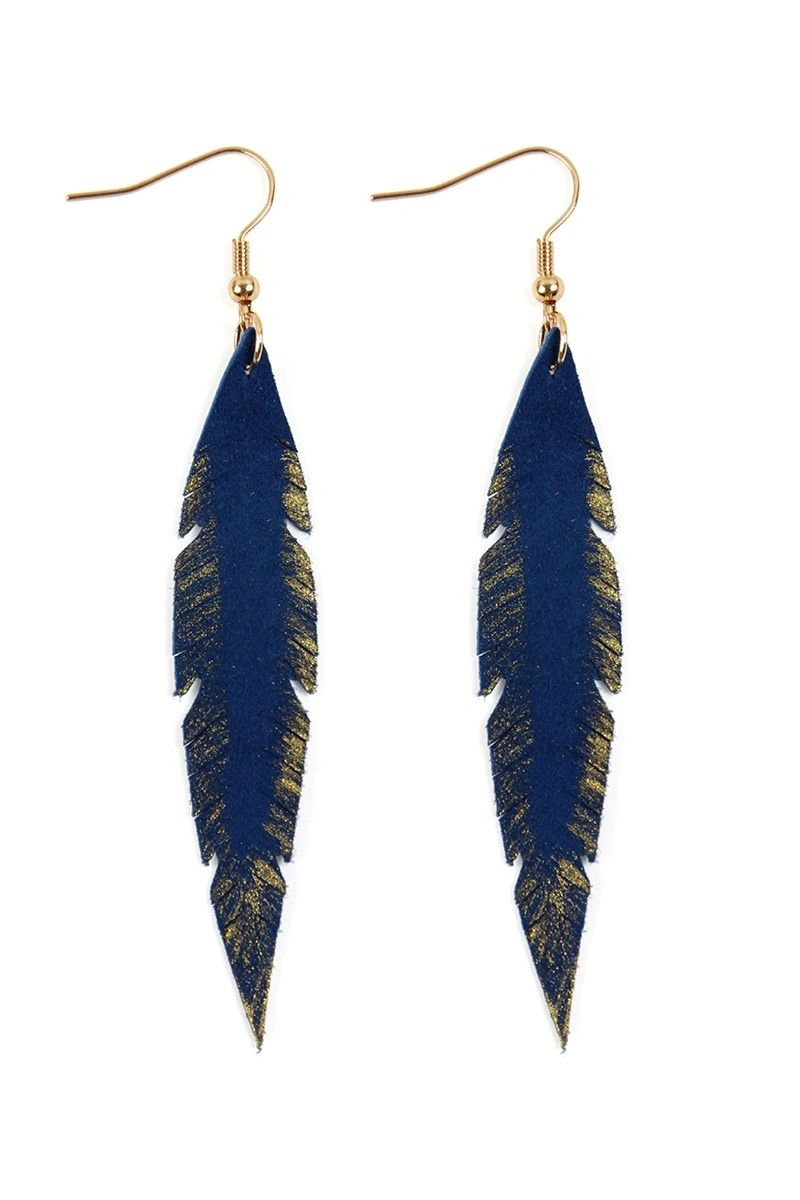 SAPPHIRE GRUNGE FEATHER SHAPE LEATHER EARRINGS