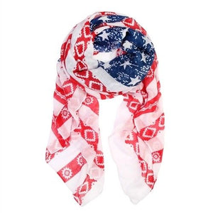 RED BLUE STARS AND STRIPED FLAG SCARF