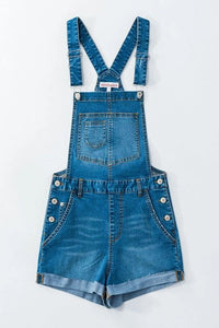 DENIM OVERALL SHORTS