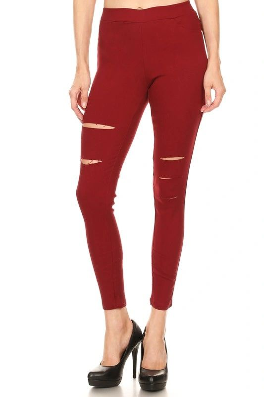 BURGUNDY HIGH WAIST RIPPED JEGGING