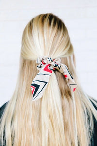 STRIPE BLOCKED SATIN SCRUNCHIE BOWS