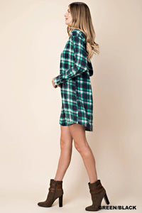 WASHED PLAID TUNIC DRESS