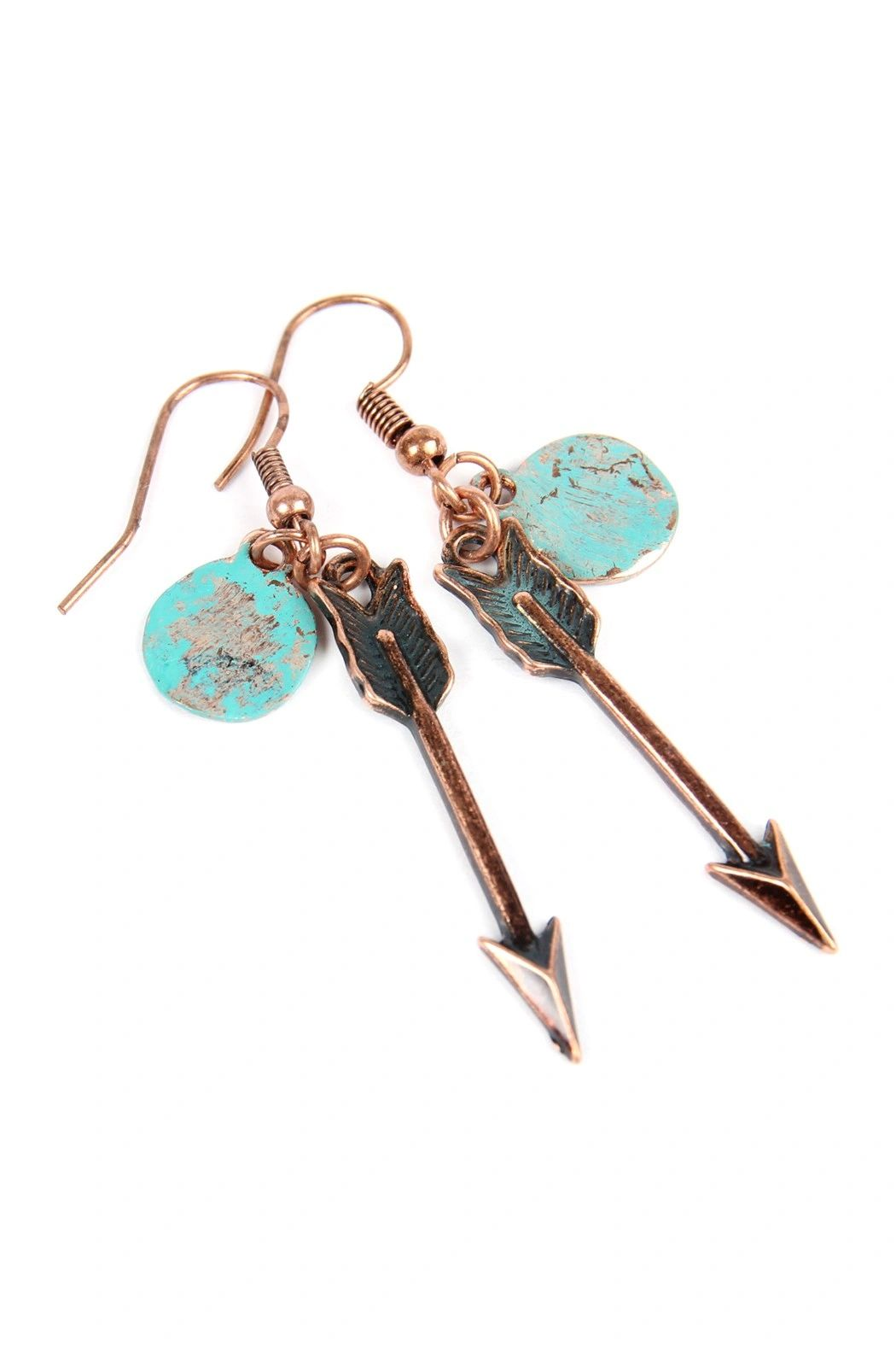 ARROW WITH HAMMERED DISC EARRINGS