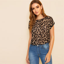 Load image into Gallery viewer, SHEIN Round Neck Leopard Blouse