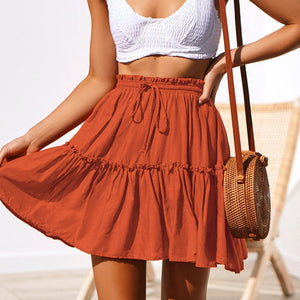 Casual Solid Ruffles A-Line Pleated Skirt