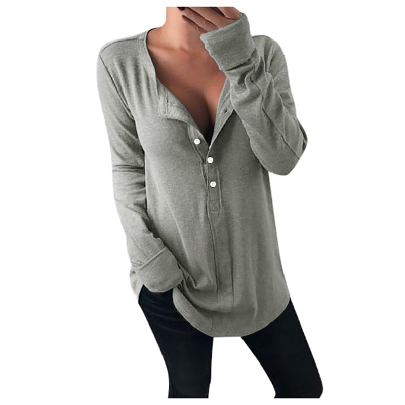 Casual Solid Loose Vintage Long Sleeve oversized T Shirt