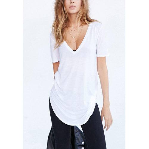 V-Neck Long T Shirt Top