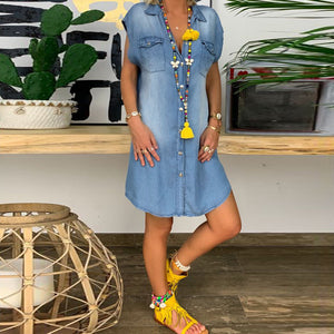 Casual Short Sleeve Solid Denim Sundress