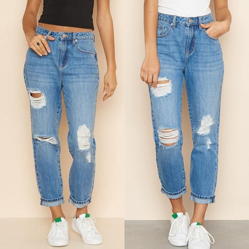 High Waisted Mom Boyfriend Jeans