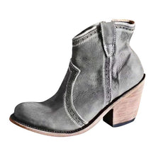 Load image into Gallery viewer, Pointed Toe Med Heels Retro Ankle Boots