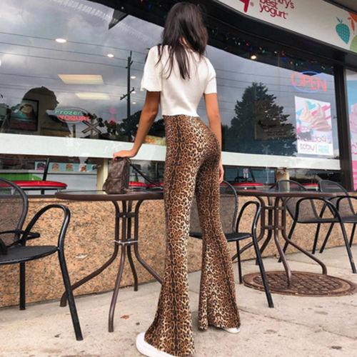 Hippie Design High Waisted Leopard Flare Pants