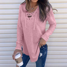 Load image into Gallery viewer, V Neck Strap Long Sleeve Oversize Elegant Blouse