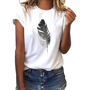 Short-Sleeved Feather Print Tshirt
