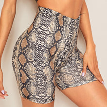 Load image into Gallery viewer, Snake Print High Waist Biker Shorts