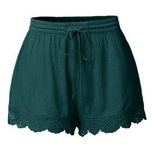 High Waist Lace Trim Shorts
