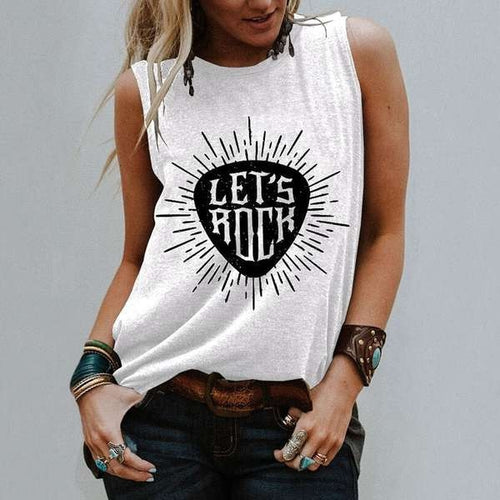 Casual Sleeveless Rock Tank Tops