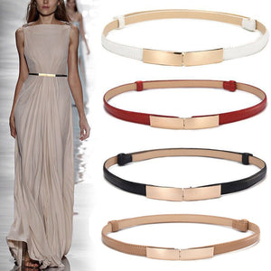 Skinny Metal Elastic Buckle Dress Belt