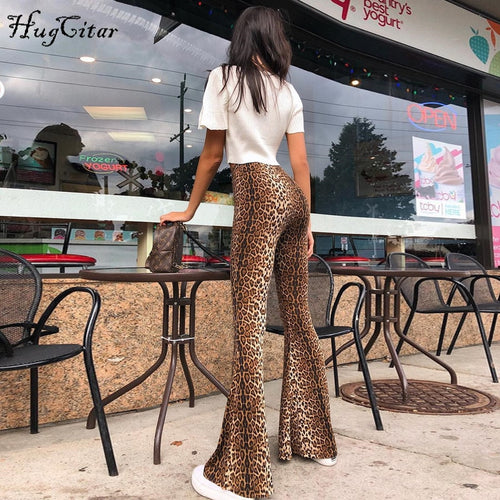 High Waisted Leopard Print Flare Leggings