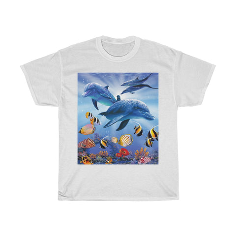 Unisex Heavy Cotton Tee - Dolphins in Light