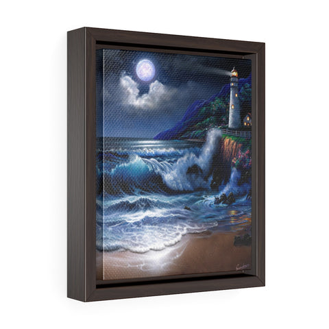 Vertical Framed Premium Gallery Wrap Canvas - Moonlight Lighthouse