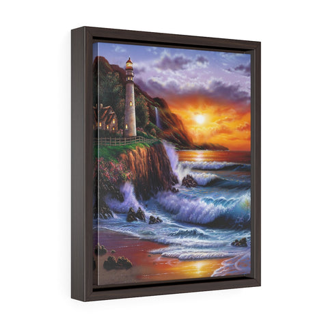 Vertical Framed Premium Gallery Wrap Canvas - Sunset Lighthouse