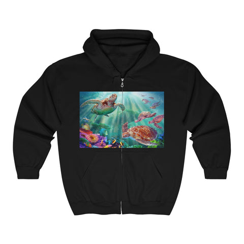 Unisex Heavy Blend™ Full Zip Hooded Sweatshirt - Turtle Voyage