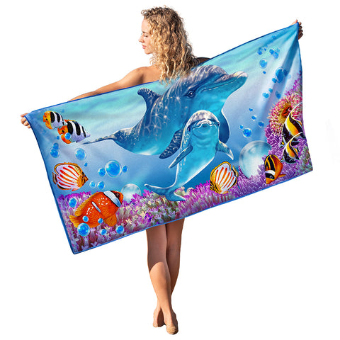 Beach Towel - Dolphin Love 30x60""