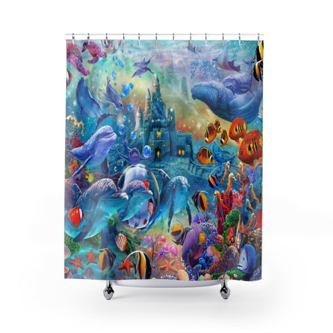 Shower Curtains - Fantasy Sea Castle - unique Oceanic design with hidden dolphins