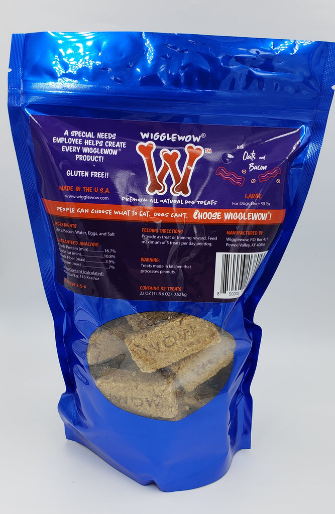 Wigglewow Premium All-Natural Oat-Bacon Dog Treats - Made in USA
