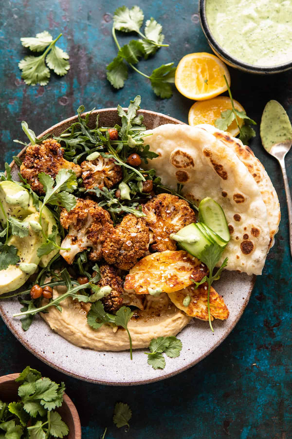 cauliflower shawarma with green tahini and fried halloumi