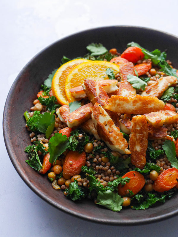 Halloumi Couscous with Chickpeas & Roasted Carrots