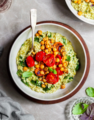 Pesto Risotto, Roasted Tomatoes & Chickpeas – Vegan & Gluten-Free