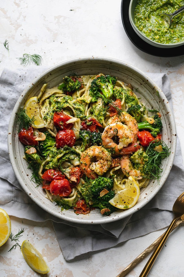 Shrimp Pasta with Dill Pesto and Garlic Roasted Tomatoes