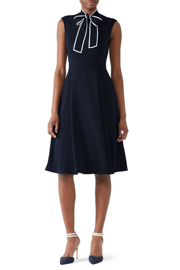 Navy Tie Neck Dress