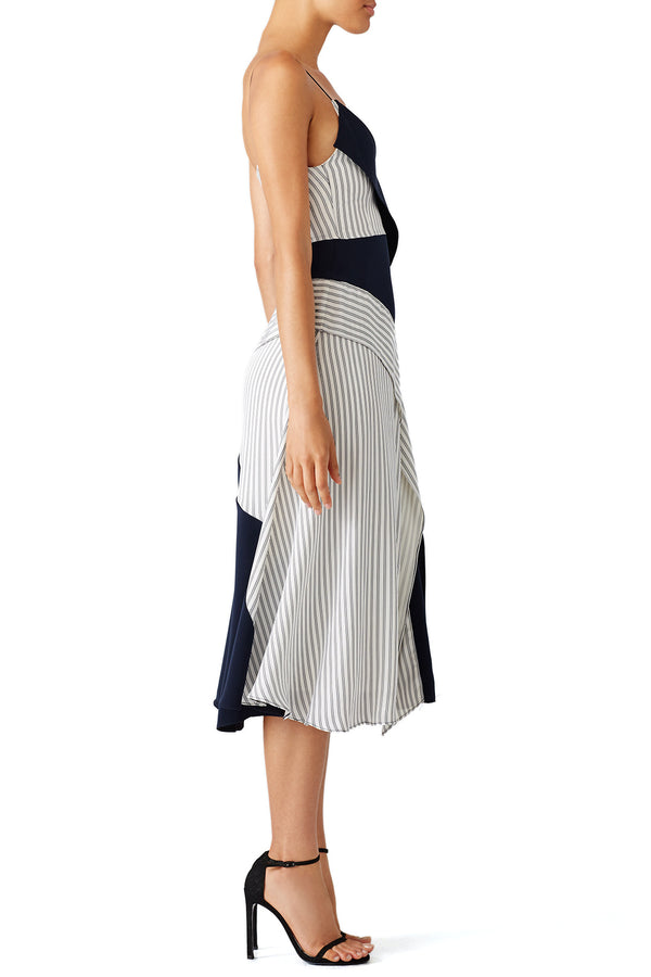 Navy Deconstructed Slip Dress