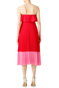 Red Pleated Tea Dress