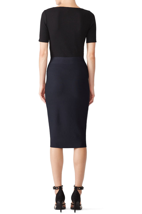 Navy Poly-Sci Skirt