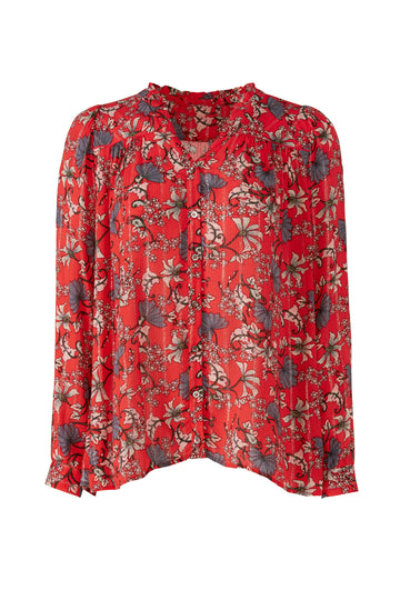 Red Edgy Floral Shirt
