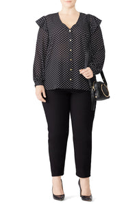 Polka Dot Ruffle Sleeve Blouse