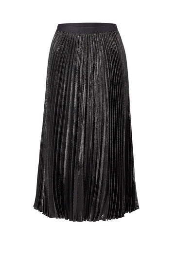 Black Lurex Pleated Skirt