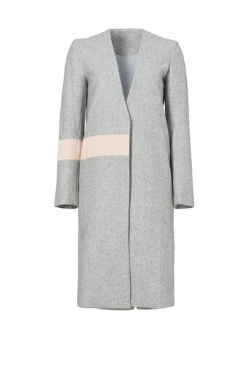 Grey Wool Abstract Coat