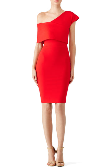 Red One Shoulder Popover Dress